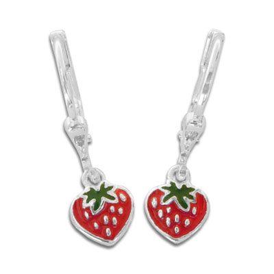 Ohrringe mit Erdbeeren rot grün 925 Silber