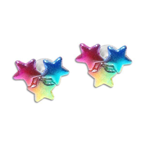 Ohrstecker mit bunten Sternen gelb blau pink 925 Silber Regenbogen Sterne