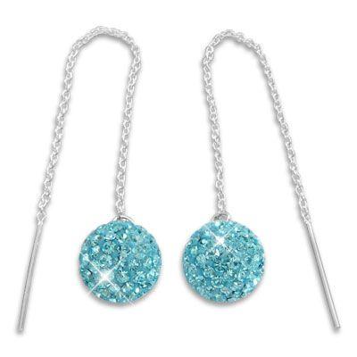 Ohrringe zum Durchziehen mit XXL Kugel 3D hellblaue Strass Kristalle 925 Silber