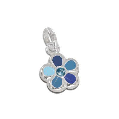 Blumen Anhänger blau 925 Silber