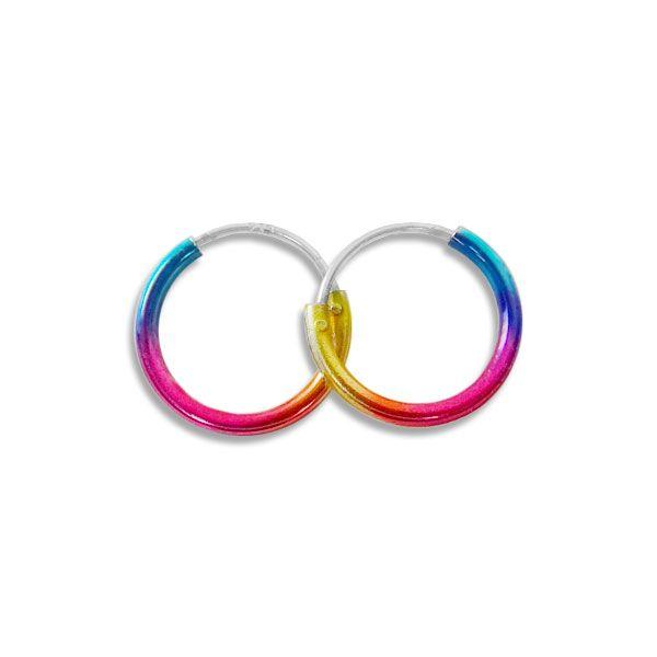 Regenbogen Creolen 12 mm 925 Silber bunte Kinder Ohrringe