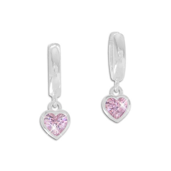 Creolen mit Herz Anhänger rosa Zirkonia 925 Silber Klapp-Creolen Kinder Ohrringe