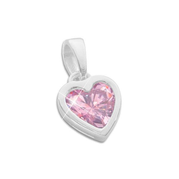 Herz Anhänger rosa Zirkonia 925 Silber