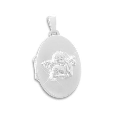 Kinder Schutzengel Medaillon oval 925 Silber