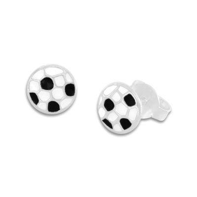 Fußball Ohrstecker lackiert 925 Silber schwarz weiße Ohrringe