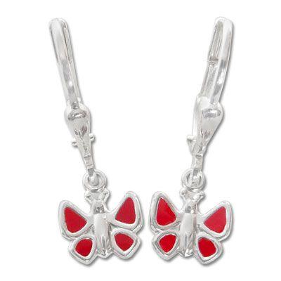 Kinderohrringe mit Schmetterlingen rot 925 Silber Geschenk für Mädchen