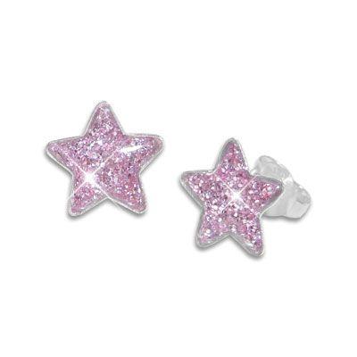 Glitzer Ohrstecker für Kinder Sterne violett 925 Silber