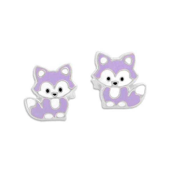 Kinder Ohrringe Füchse hell lila lackiert 925 Silber