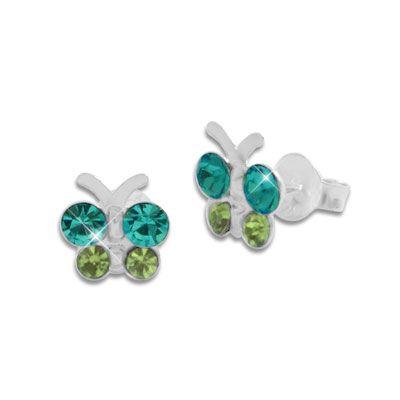 Schmetterlings Ohrstecker mit türkis / grün Strass Steinen 925 Silber Ohrringe für Kinder