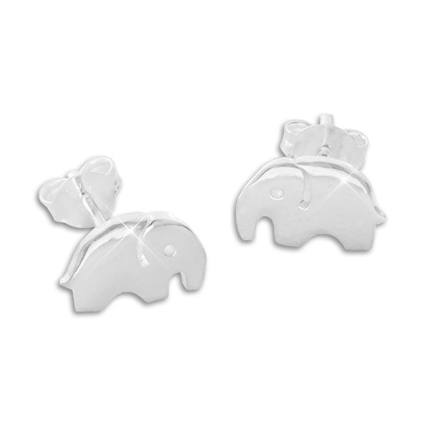 Ohrstecker mit Elefanten glänzend 925 Silber