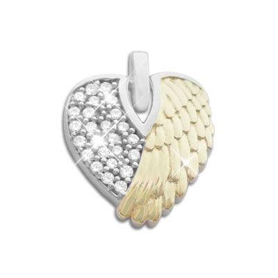 Engelsflügel Herz Anhänger bicolor mit Zirkonia 925 Silber