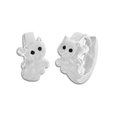 Kinder Creolen mit Kätzchen 925 Silber Katzen Ohrringe