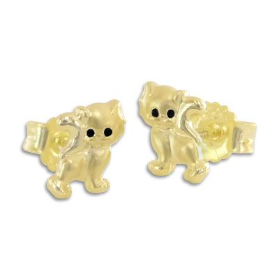 Kätzchen Ohrstecker 333 Gold Katzen Ohrringe für Kinder