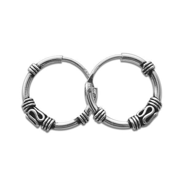 Bali Kreolen 925 Silber 12 mm Gothic Creolen