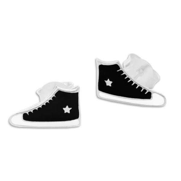 Sneaker Ohrstecker schwarz mit Stern 925 Silber Schuh Ohrringe