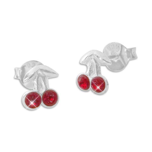 Zarte Kirschen Ohrstecker mit roten Strass Kristallen 925 Silber Kinder Ohrringe