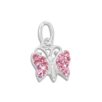 Anhänger Schmetterling mit rosa Strass Steinen 925 Silber Kettenanhänger für Mädchen