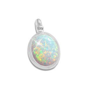 Opal Anhänger oval 925 Silber