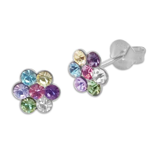 Kinder Blumen Ohrstecker mit bunten Pastell Kristallen 925 Silber