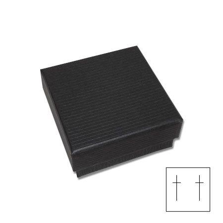 Geschenkschachtel für Ohrringe schwarz mit Rillen 41 x 41 x 20 mm