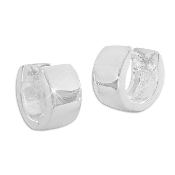 Breite kleine Creolen glänzend 11 x 5,5 mm 925 Silber Klapp-Creolen