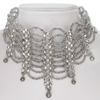 Perlen Halsband Collier grau silber