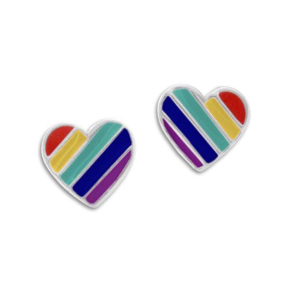 Herz Ohrstecker mit Regenbogen Streifen gedeckt 925 Silber