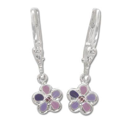 Kinder Ohrringe Blumen lila 925 Silber