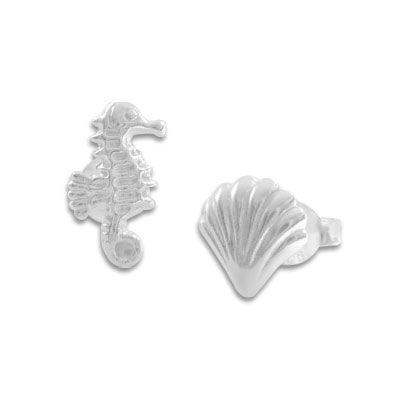 Seepferdchen und Muschel Ohrstecker 925 Silber