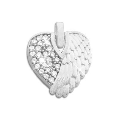 Herz Anhänger Engelsflügel mit Zirkonia 925 Silber