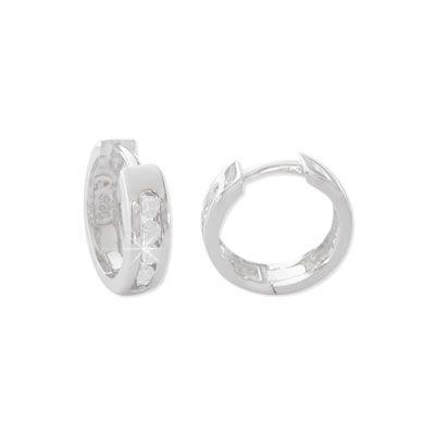 Creolen mit weißen Strass Steinen 925 Silber