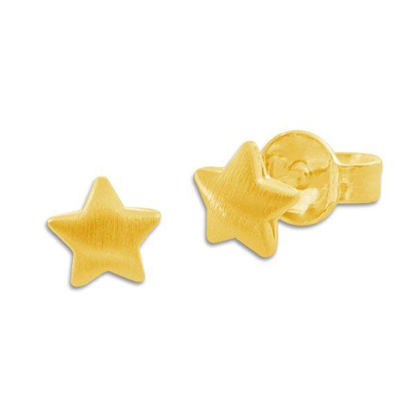 Ohrstecker mit mattierten Sternen 333 Gold Ohrringe