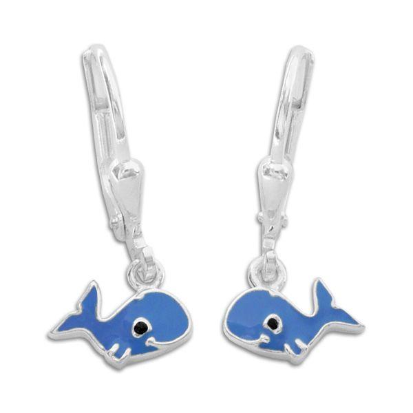 Wal Ohrringe Ohrhänger dunkelblau 925 Silberfür alle Wal und Delfin Fans