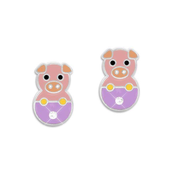 Schweinchen Ohrstecker mit Kristallen 925 Silber Kinderohrringe mit Schwein