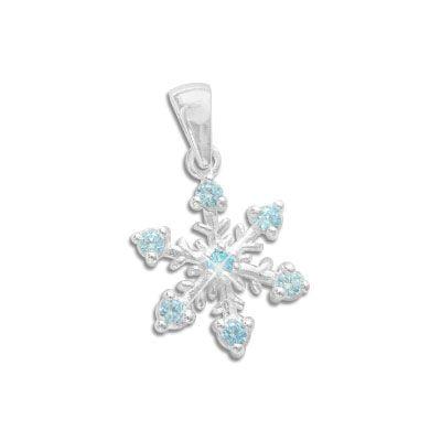 Eisstern Eiskristall Anhänger mit 7 Zirkonia Steinen aquablau 925 Silber