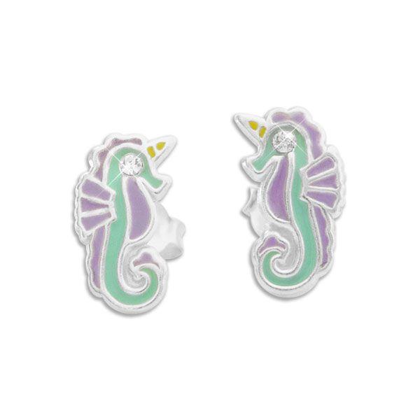 Ohrstecker Seepferdchen mit Horn Einhorn 925 Silber Ohrringe