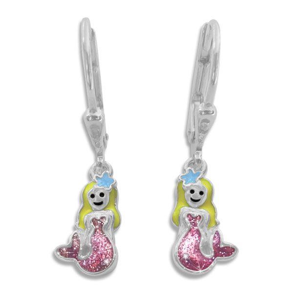 Kinder Ohrringe Meerjungfrau lackiert mit Glitzer 925 Silber