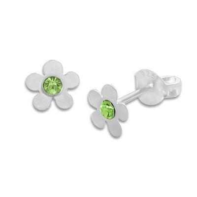 Ohrringe Blume mattiert mit hellgrünem Kristall Strass Stein 925 Silber