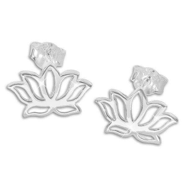 Ohrstecker Lotusblume glänzend 925 Silber Ohrringe mit Lotusblüte
