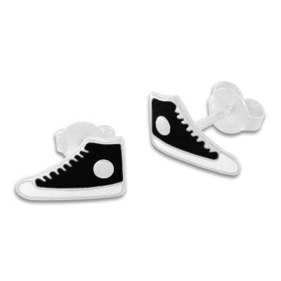 Sneaker Ohrstecker schwarz lackiert 925 Silber