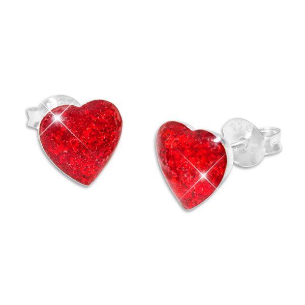Glitzer Ohrstecker Herz rot 925 Silber Mädchen Ohrringe