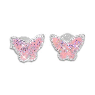 Ohrstecker für Kinder Schmetterlinge rosa mit Glitzer 925 Silber