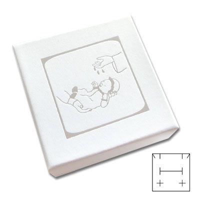 Schmucketui weiß-silber mit Täufling 50 x 50 x 25 mm