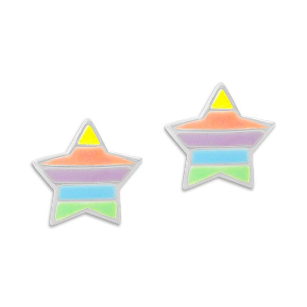 Ohrstecker Sterne in Neonfarben 925 Silber Kinder Ohrringe