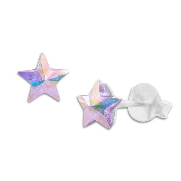 Ohrstecker Regenbogen Sterne lila 925 Silber Ohrringe