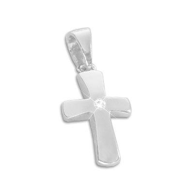 Taufkreuz Anhänger mit weißem Zirkonia 925 Silber
