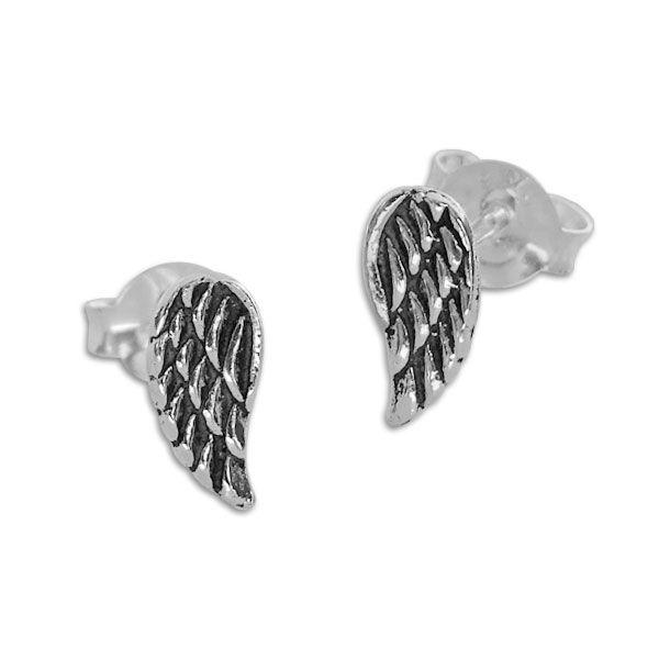 Engelsflügel Ohrringe geschwärzt 7,5 x 4 mm 925 Silber Ohrstecker Damen und Teens