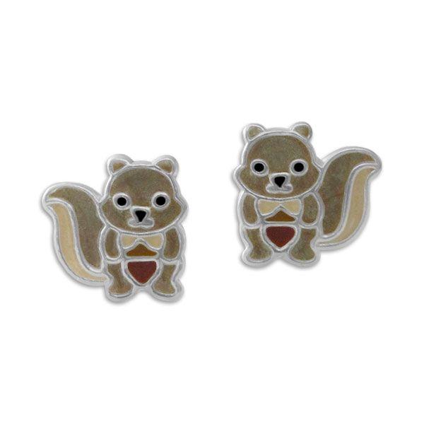 Eichhörnchen Ohrringe für Kinder 925 Silber Ohrstecker Kinderschmuck