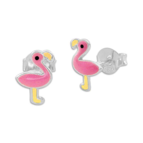 Kinder Ohrstecker Flamingo in rosa und gelb 925 Silber