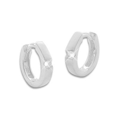 Mattierte Creolen mit weißen Zirkonia Steinen 925 Silber
